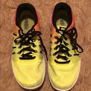 Shoes - Pink orange yellow Nike tennis shoes